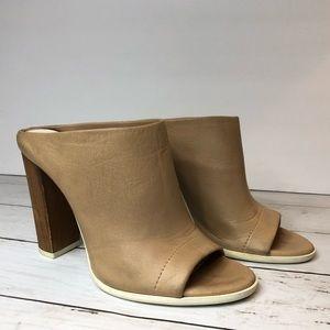 VINCE Alison tan leather open toe mules size 6